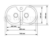 Dwukomorowy zlew granitowy Aster 40 - wymiary